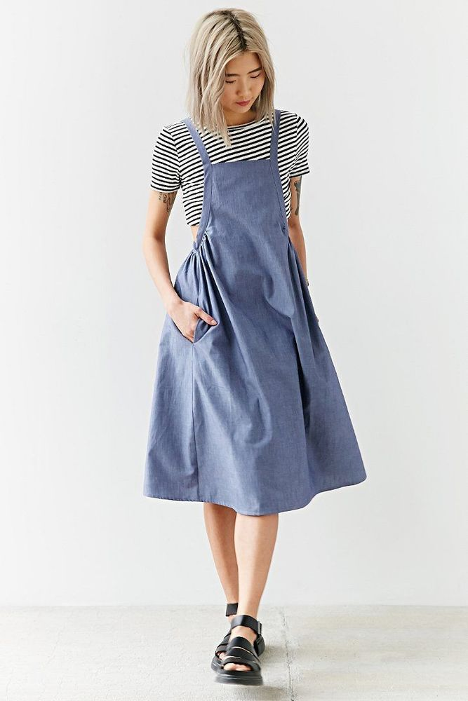 Alice & UO 1029 Agnes Chambray Apron Midi Dress Sz XS,S, M  Retail $98 #AliceUO #apron