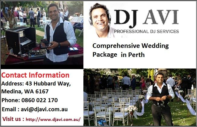 DJ Avi is featured among the most talented wedding DJ hire in Perth. DJ Avi possesses a refined taste for music and understands spurt of the moment; thus, puts the most suitable tracks on the playlist. With DJ Avi, you are sure to have a wonderful time –dancing and enjoying with your loved ones.  For more details contact us:  43 Hubbard Way, Medina, WA 6167.  Phone: 0860 022 170 Email: avi@djavi.com.au