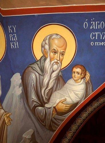 Святой Преподобный Стилиан Пафлагонянин. Роспись храма Святых Киприана и Иустины на острове Кипр.