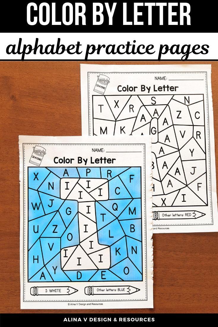 Color By Letter A-Z - Letter Recognition Worksheets Kindergarten in ...
