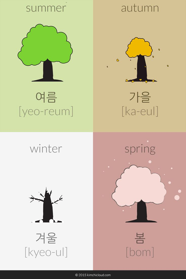 The words for the four seasons in Korean are: Summer: 여름 (yeo-reum), Autumn / Fall: 가을 (ka-eul), Winter 겨울 (kyeo-ul), and finally Spring: 봄 (bom).