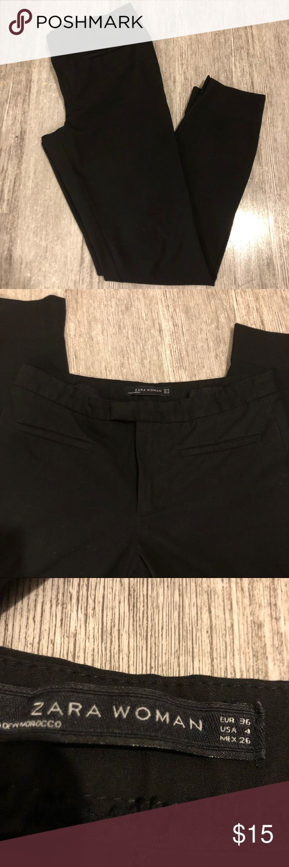 Zara Women Black Business Causal Work Pants Excellent used condition No rips or…