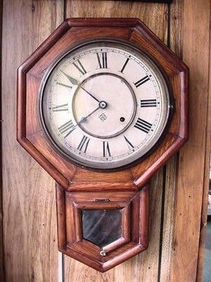 ANTIQUE ANSONIA WALL CLOCK REPAIR PROJECT 21.5  LONG. THE DIAL IS 9 3/8  DIAMETERTHERE IS NO PENDULUM OR KEY THE MOVEMENT DOES NOT WIND ON EITHER SIDE · WE BUY AND SELL USED CLOCKS · WE DO NOT KNOW I