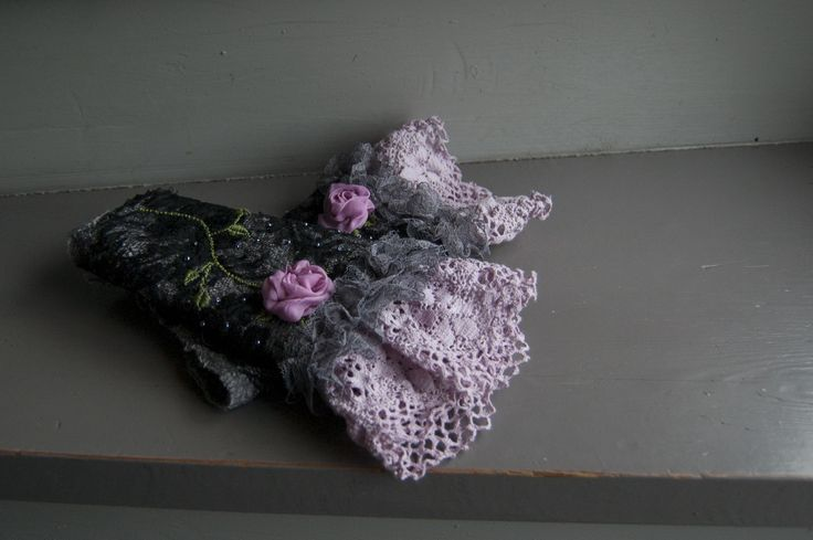 Wrist warmers , cuffs. Nuno felted and decorated with lace and silk. My December design.