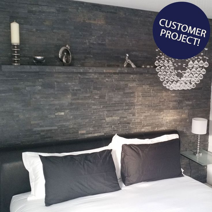 looking for bedroom decorating ideas create a textured split face feature wall above your headboard - Slate Bedroom Decorating