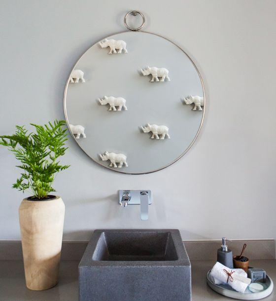 Rhino themed bathroom #Mirror #Plant  #Bathroom #Basin #GreyBathroom