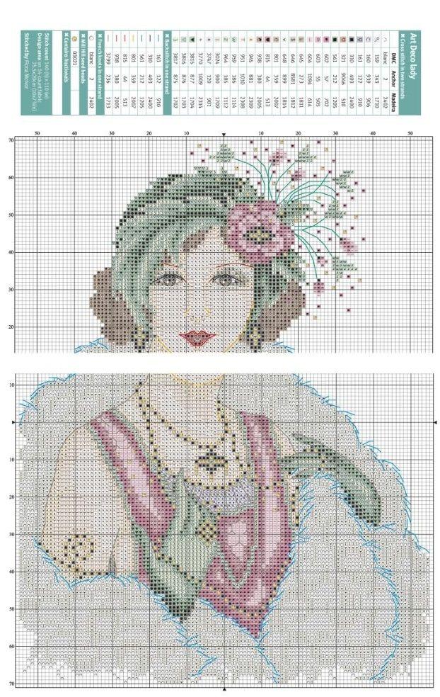 0 point de croix art deco lady - cross stitch
