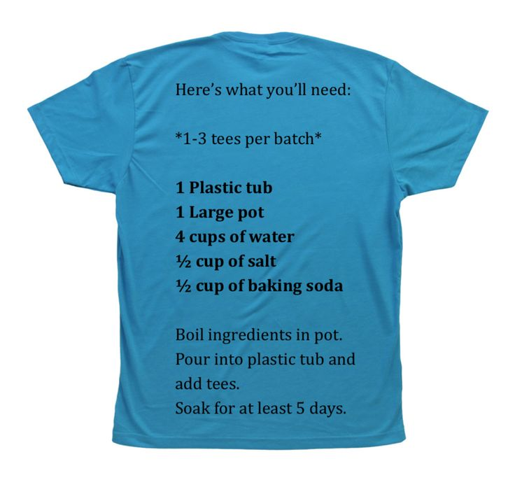 (Make new t-shirts feel soft as an old well worn favorite.) T-shirt Brine, this version is supposed to work better