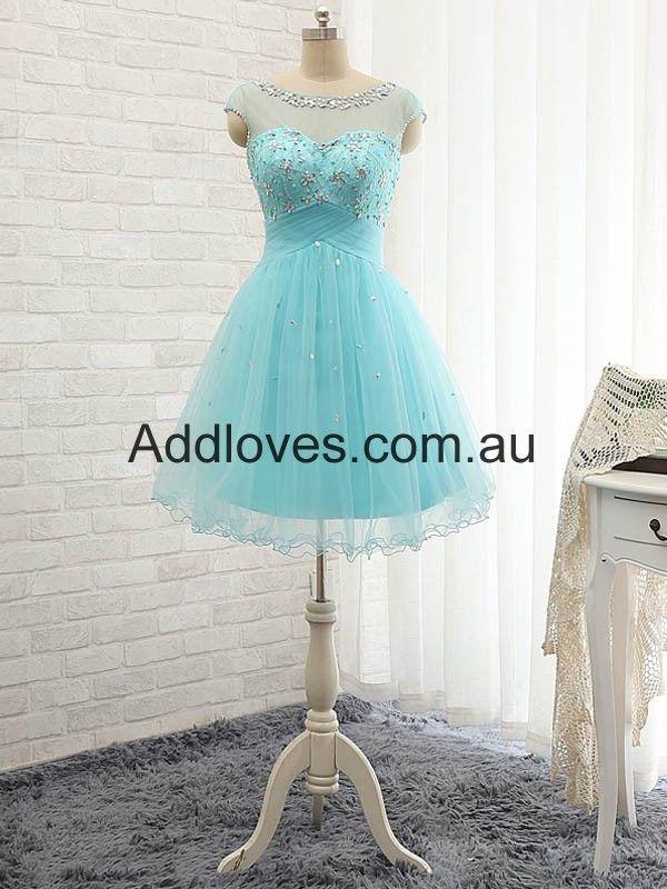 A-Line Blue Short Tulle Cocktail Dresses