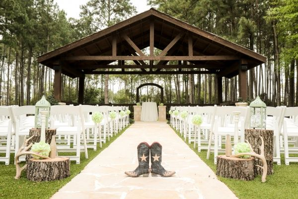 Perfect ceremony site for the Texan bride!  THE SPRINGS in The Woodlands--wedding venue located in Houston, TX.  Perfect for a woodsy, boho, or country wedding theme.  Texas wedding venues, texas wedding ideas, cowgirl boots, wedding venue texas, outdoor ceremony site ideas, southern belle.