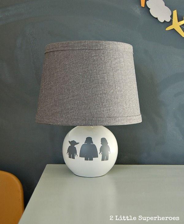 Love This Thrift Store Lamp Makeover. Star Wars Lamp.  Www.2littlesuperheroes.com