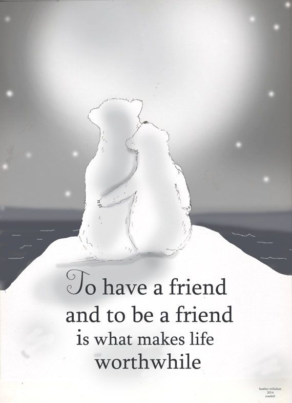 Friendship Art Polar Bear Art Winter Art by RoseHillDesignStudio