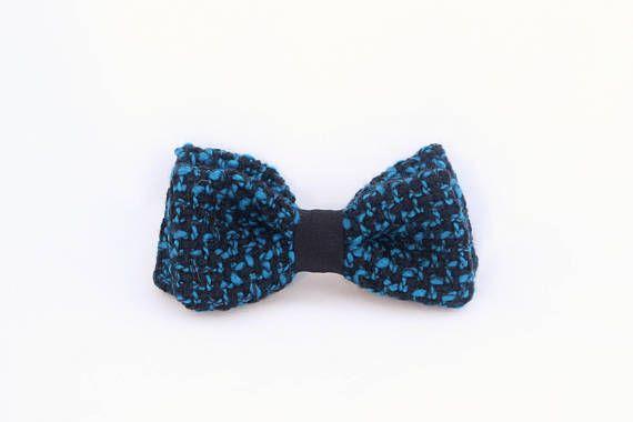 Noeud papillon lainage bleu noué interchangeable homme et