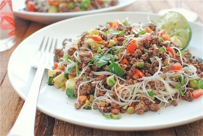 Spicy Beef and Basil with Vermicelli Noodles ( I will of course OMIT ...
