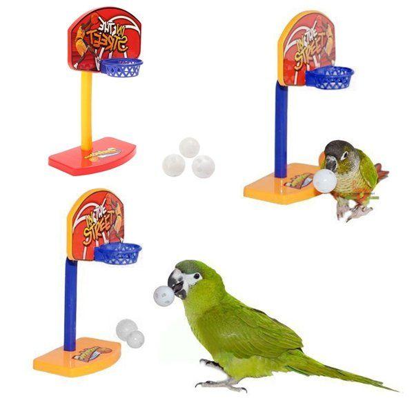 3Pcs Pet Birds Chew Parakeet Bell Balls Parrot Toys Birdie Basketball Hoop Prop at Banggood