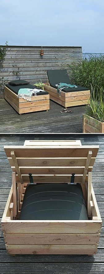 DIY Daybed/ Outdoor Tanning Bed. love the wood panelling along the outside, looks so much more elegant than just one panel and skinny legs.
