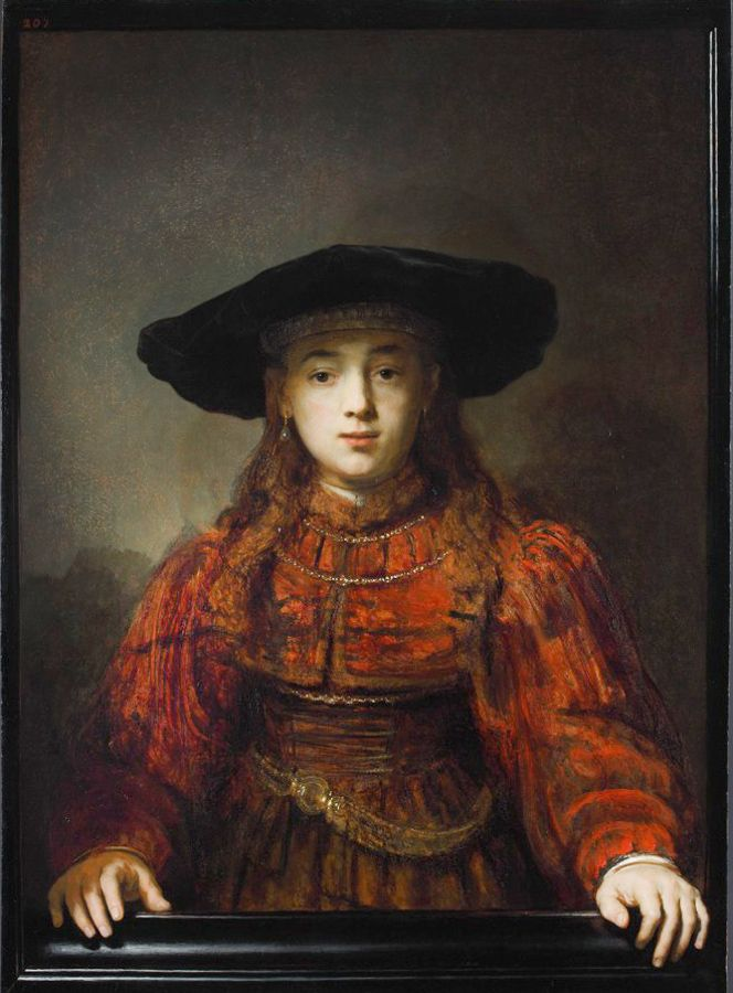 Rembrandt Harmenszoon van Rijn (Dutch 1606–1669) [Dutch Golden Age, Baroque] The Girl in a Picture Frame, 1641.