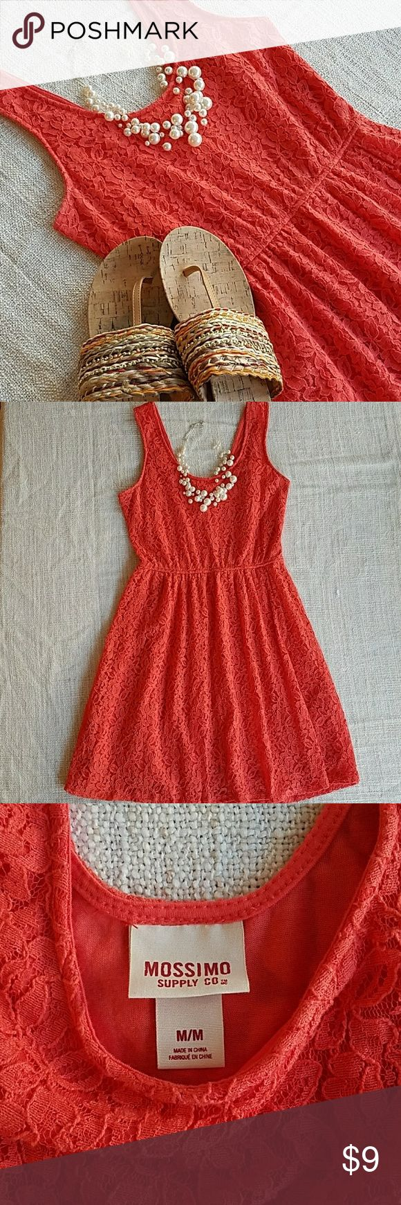 """2FOR$9🌼Coral Lace Dress Mossimo coral lace dress, lined, with a side zipper.  Light wear and one small hole, the lace pattern makes it so unnoticeable I almost couldn't find it to take a picture. Overall in good used condition. :D  True color is closest to the last picture  *Necklace and shoes are only for stying*  No trades please 💕 Measurements laying flat: chest """"15, length """"32  2FOR$9 SALE🌼Bundle any 2 items priced $5-$9 and submit an offer for $9! Mossimo Supply Co Dresses"""