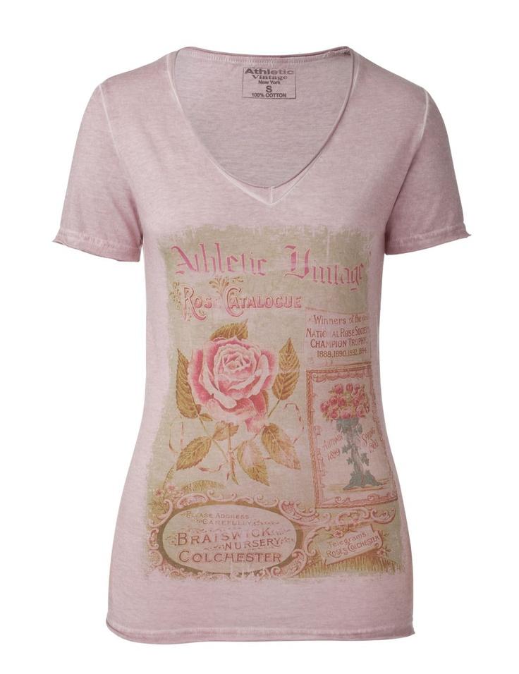 Athletic Vintage Damen T-Shirt V-Ausschnitt Rosa