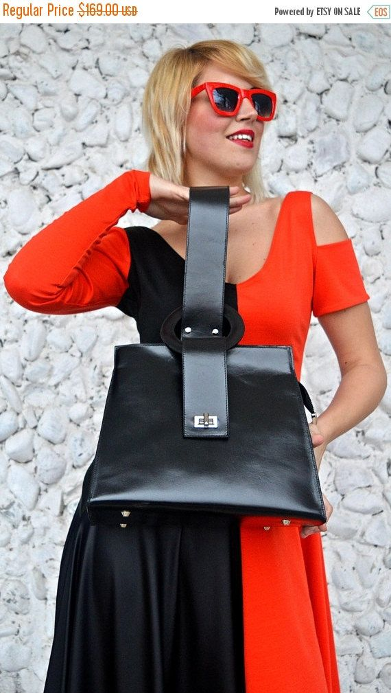 ON SALE 20% OFF Black Leather Bag / Genuine Leather Bag / Extravagant Leather Tote / Genuine Leather Tote Tlb05 / Urban Muse