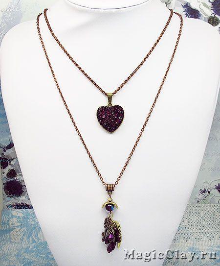 Колье Аметистовая Любовь - украшение своими руками из фурнитуры для бижутерии, конусных страз, эпоксидной глины Crystal Clay