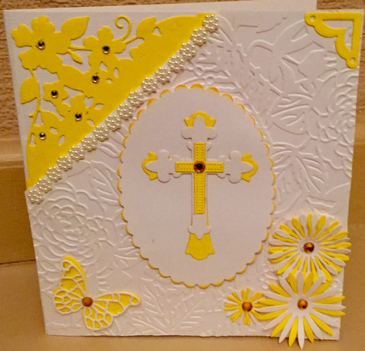 Easter card using an Embossing folder, die cuts and gems
