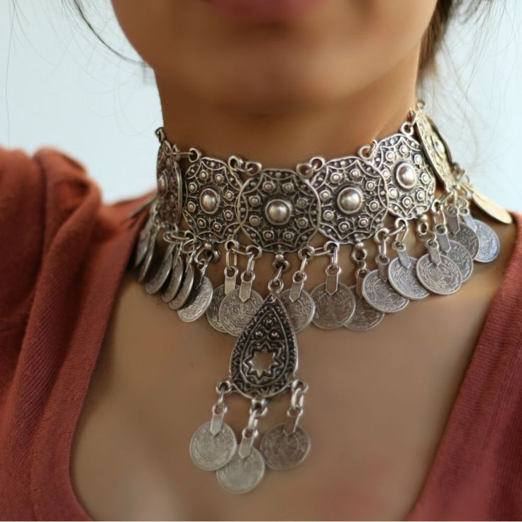 Choker Antique Silver Vintage Chunky Bohemian Statement Collar Retro Necklace #Takimania #Choker