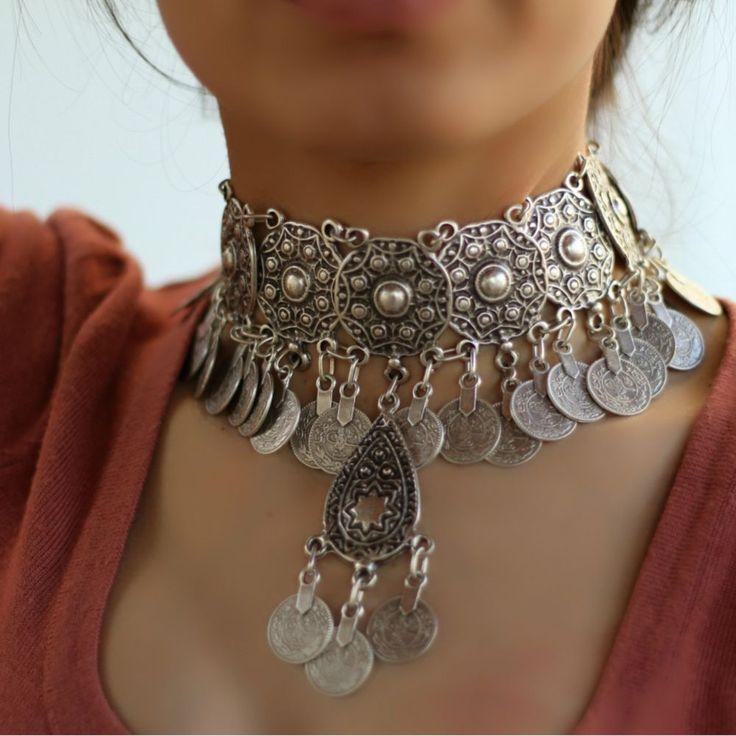 Choker Antique Silver Vintage Chunky Bohemian Statement Collar Retro Necklace #Takimania #Choker