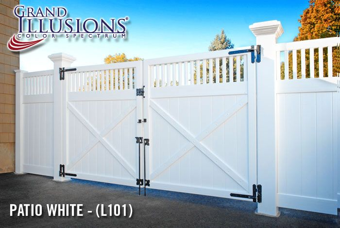 """V3700 Series Drive Gate with Framed Victorian Topper shown in Grand Illusions Color Spectrum Patio White (L101) with 8"""" x 8"""" Majestic posts, Extra Strong Hinges (IESH) and 48"""" Drop Rods (DRAS48)"""