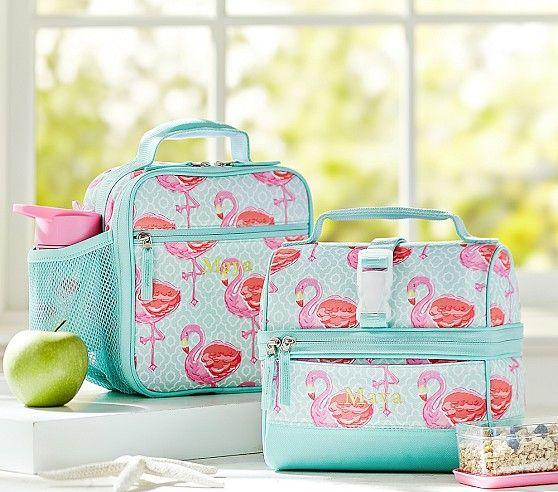 Mackenzie Aqua Flamingo Lunch Bags | Pottery Barn Kids