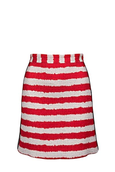 MSGM cotton and linen blend A-line skirt with contrasting stripes on the sides and concealed zip closure on the back  The model is 1,75m tall and is wearing size 38