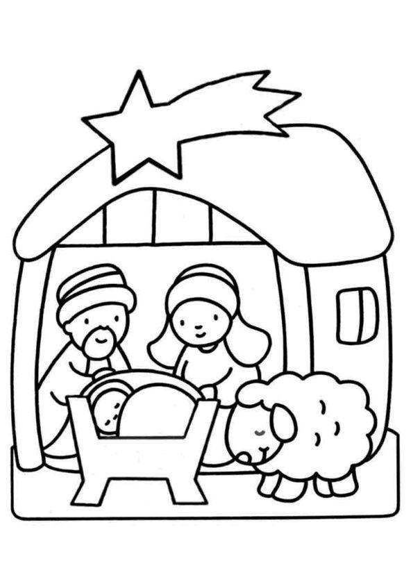 Kerst kleurplaten; kerststal met jesus, josef, maria en een lammetje