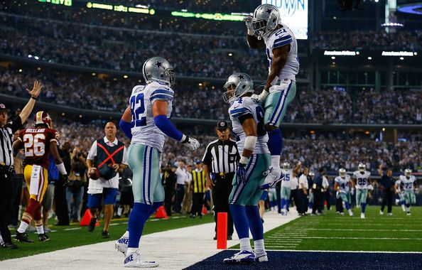 Jason Witten Photos Photos - Jason Witten #82, James Hanna and Joseph Randle #21 of the Dallas Cowboys celebrate Witten's touchdown against the Washington Redskins during the second half at AT&T Stadium on October 27, 2014 in Arlington, Texas. - Washington Redskins v Dallas Cowboys