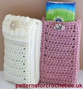 Pocket tissue cover free crochet pattern from http://www.patternsforcrochet.co.uk/pocket-pack-tissue-cover-usa.html #freecrochetpattern #patternsforcrochet