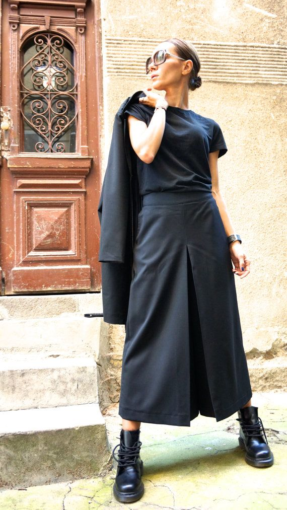 NEW  Cold Wool Wide Leg 7/8  Pants / Extravagant High Waist Black Trousers by Aakasha A05147