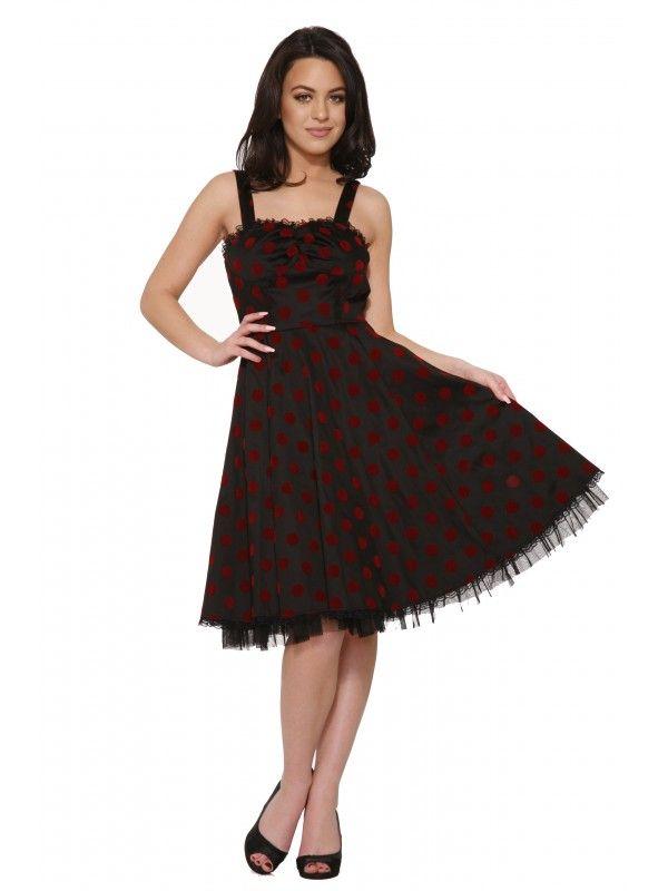 Hearts & Roses Women's Nikki Dress in Black with Red Velet Dot