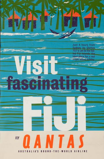 DP Vintage Posters - Visit Fascinating Fiji Original Qantas Airlines Travel Poster