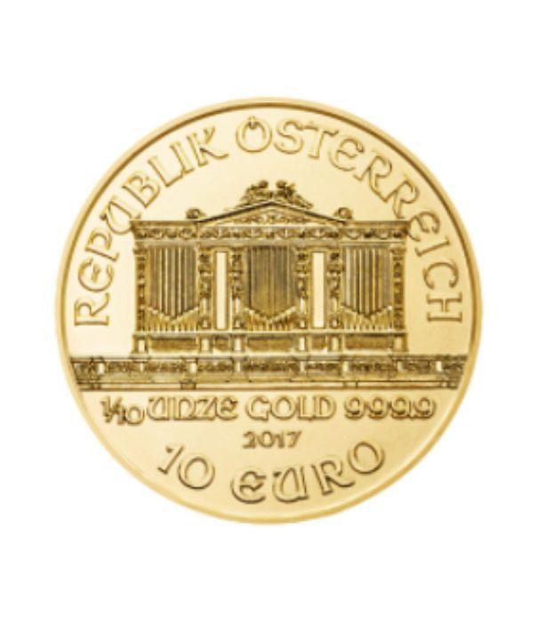 Oostenrijk - 10 Euro 2017 'Vienna Philharmonic' - 1/10 oz gold  Wiener Philharmoniker 1/10 oz - 10 Euro 999.9 gouden munt de Vienna Philharmonic Gold is een Oostenrijkse gouden munt en wordt uitgegeven door de Oostenrijkse munt sinds 1989. Het goud Philharmonic is Europa's tweede meest waardevolle gold bullion munt na het goud Britannia en heeft de status van officiële munt. Wereldwijd bekend is en een zeer gewilde gouden munt. Mint condition - 2017Munt: OostenrijkHerkomst…