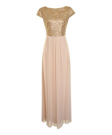 Look what I found on #zulily! Nude & Gold Jade Dress by London Dress Company #zulilyfinds