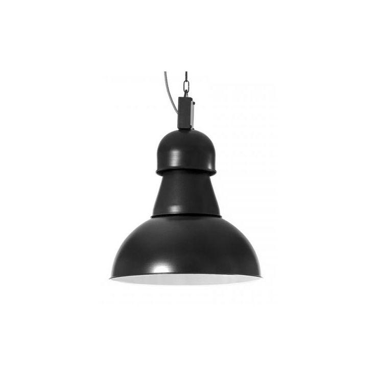 Czarna lampa industrialna.