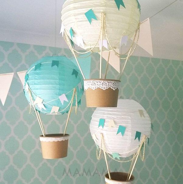 Whimsical Hot Air Balloon Decoration DIY kit MINT , Nursery Decor , Baby Shower Decor , Baby Boy , Travel Theme Nursery - set of 3 by mamamaonline on Etsy https://www.etsy.com/au/listing/232956553/whimsical-hot-air-balloon-decoration-diy