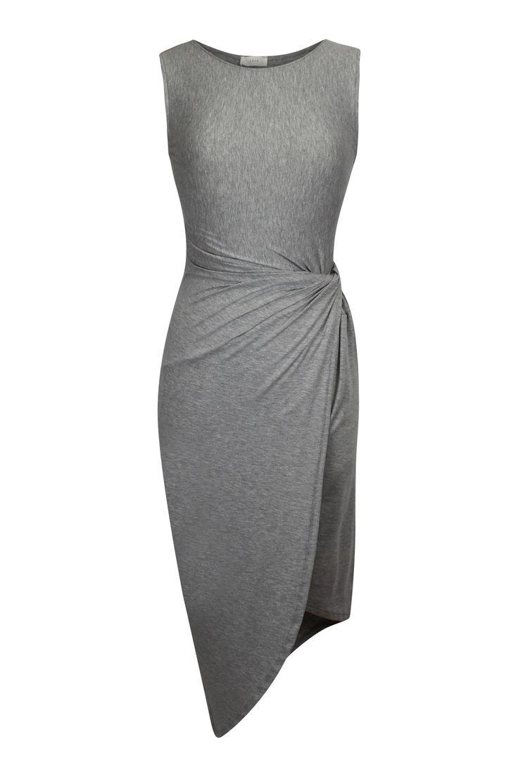 Basic Jersey Side Knot Midi Dress - Gray