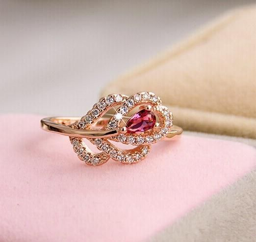 Rose Red Gem Gold Delicate Zircon Crystal Flowered Ring //Price: $10.95 & FREE Shipping //     #love