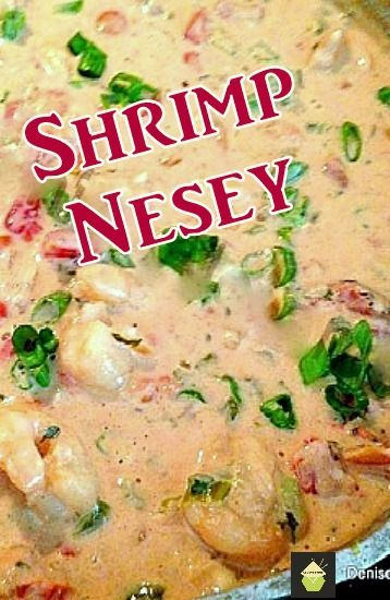 Shrimp Nesey - This is a delicious starter or main, shrimp with a wonderful cream sauce. Goes great served with pasta! Real Home cooking at it's best. No frills and fantastic flavors. #shrimp #creamsauce #seafood