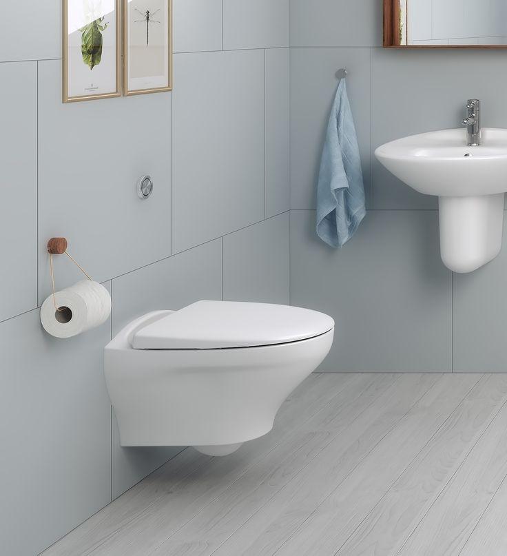 Vägghängd toalett Estetic 8330. Hygienic Flush: öppen spolkant för enklare rengöring.