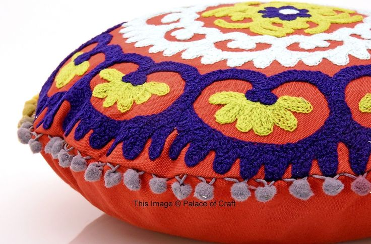 Hand Embroidered Suzani Cushion Cover Round Pillow Case Indian Bohemian Design | eBay