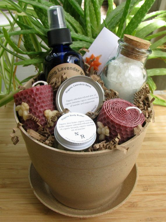 Organic Bath and Body Gift Basket ('planted' in a latte colored eco-planter).  $35