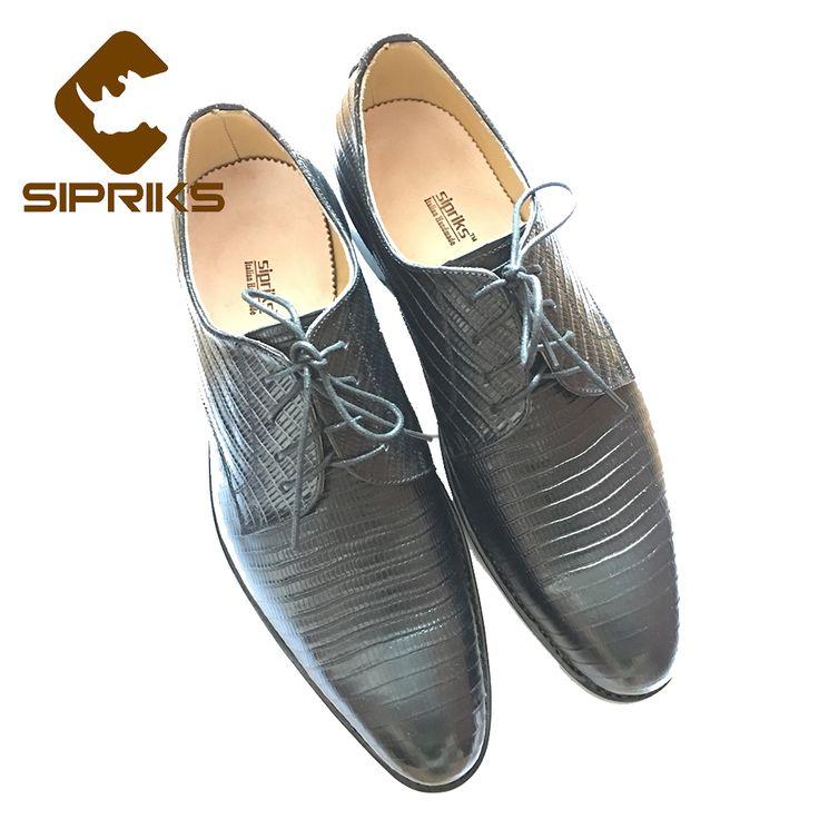 best price sipriks luxury mens black lizards skin derby shoes italian custom mens goodyear welted shoes #lizard #skin
