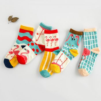 South Korea Korean counter bar dot cotton cotton socks cute cartoon Flamingo wave socks