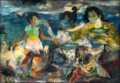 Hendra Gunawan (1970), 'Two Women Eating (2 Wanita Sedang Makan)'